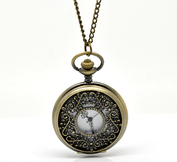 FUNIQUE Hot Selling Pocket Watches For Women Bronze Tone Necklace Chain Round Quartz Steampunk Pocket Watch Clock 87cm antique hollow carving horse quartz pocket watch steampunk bronze fob clock for men women gift item with necklace 2017