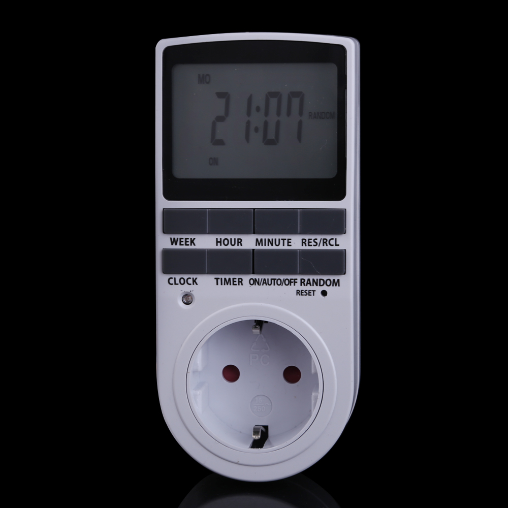 Spina di UE Portatile Plug-in Timer 24 h 7day Settimana con Display LCD Digitale per Interni Luci Apparecchio/TV/PC/Ventilatori/Cucina