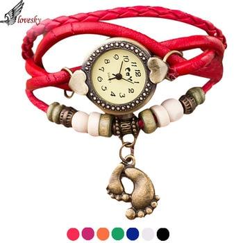 Lovesky Relogio Feminino Vintage Quartz Weave Around Leather Footed Bracelet Lady Woman Wrist Watch Wholesale дамски часовници розово злато