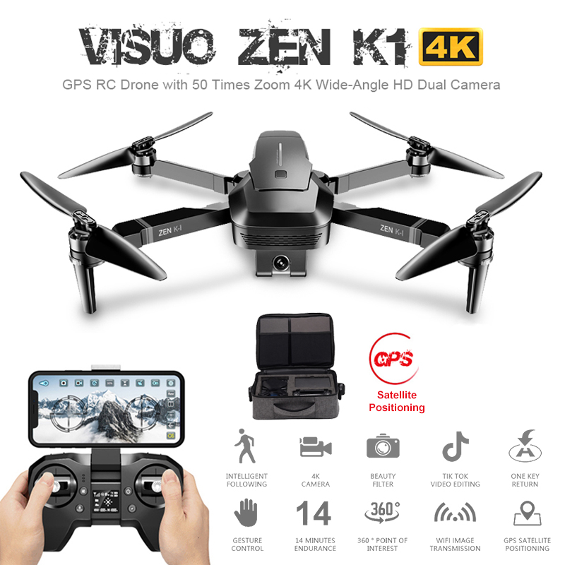 Visuo ZEN K1 GPS RC Drone with 50 Times Zoom 4K Wide Angle HD Dual Camera