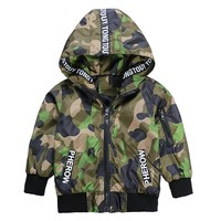 Boys Jacket Cardigan 2017 Fashion Spring Autumn Letter Patchwork Design Camouflage Coats Army Children S Windbreaker