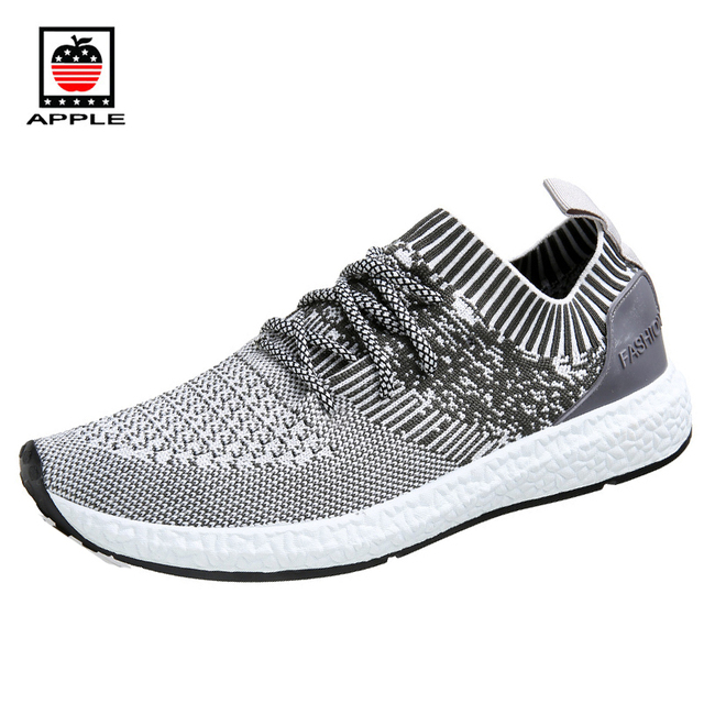 APPLE 2017 Summer New Arrival Good Quality Flyknit Men's Light Running Shoes Breathable Comfortable Outdoor Sneakers AP8002