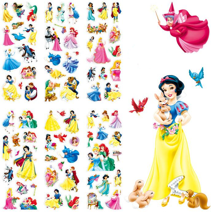 10pc cartoon Snow White cute stickers for kid rooms Home decor Diary Notebook Label Decoration toy Princess 3D stickers(China)