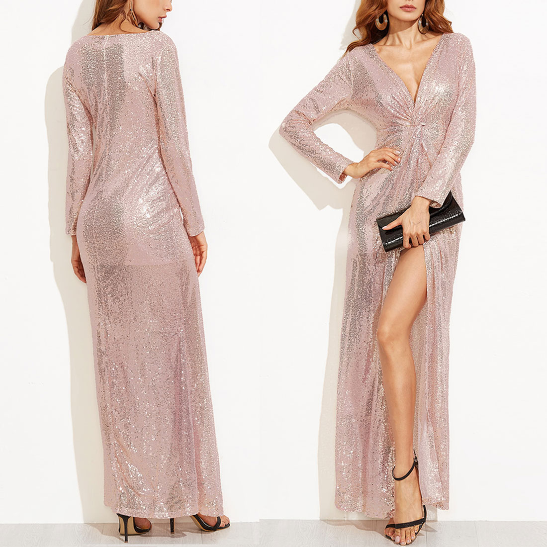 Лидер продаж, женское сексуальное вечернее платье с глубоким v-образным вырезом и длинным рукавом, с блестками, с высоким разрезом, макси пла...