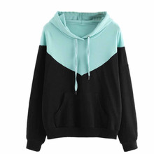 USPS Women's Patchwork Hooded sweater Womens Hoodie Sweatshirt Hooded Pullover Tops Blouse Skateboarding Hoodies Hoody Tops #10