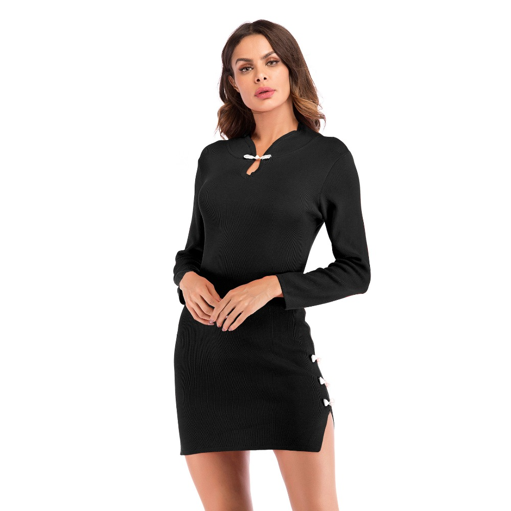 YYFS Autumn winter new retro dress sexy long sleeved stand collar dress knit women 39 s dress female elegant party dresses vestdios in Dresses from Women 39 s Clothing