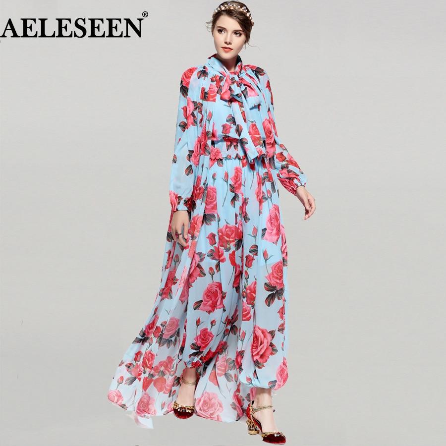 New Fashion Boho Women 's 2 Piece Set 2018 Spring Summer Rose Print X Long Cloak + Elastic Jumpsuit Runway Designer suit inc new beige leopard print 2 piece set women s size small s henley blouse $79