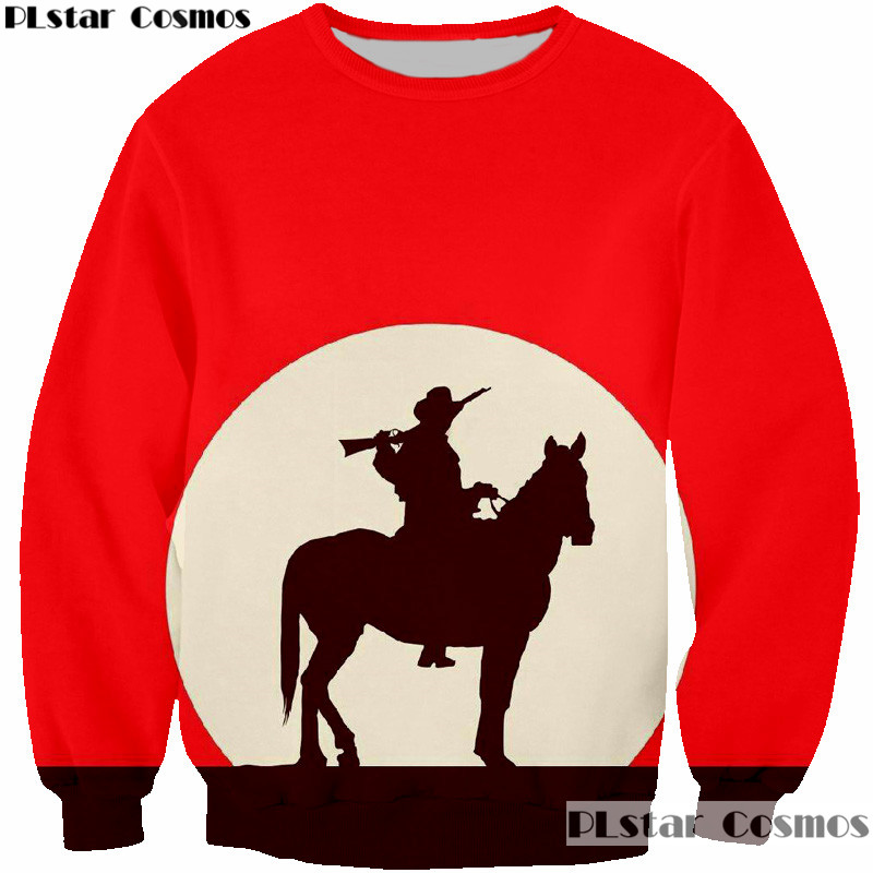 PLstar Cosmos Riding through The Moon Sweatshirt Women Men Cool Shadow 3D Print Sweats jumper pullovers Hoodie Plus size 5XL