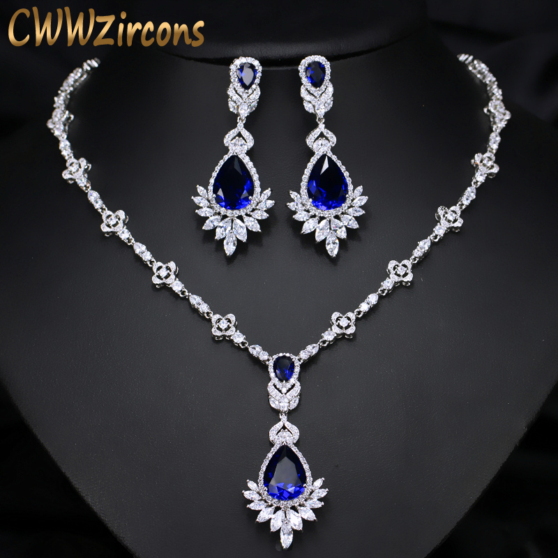 CWWZircons AAA Quality Cubic Zirconia Big Drop Royal Blue Bridal Wedding Evening Earring Necklace Jewelry Set For Women T064 cwwzircons water drop royal blue cz necklace earrings ring and bracelet 4 piece wedding jewelry set for women bridal party t098