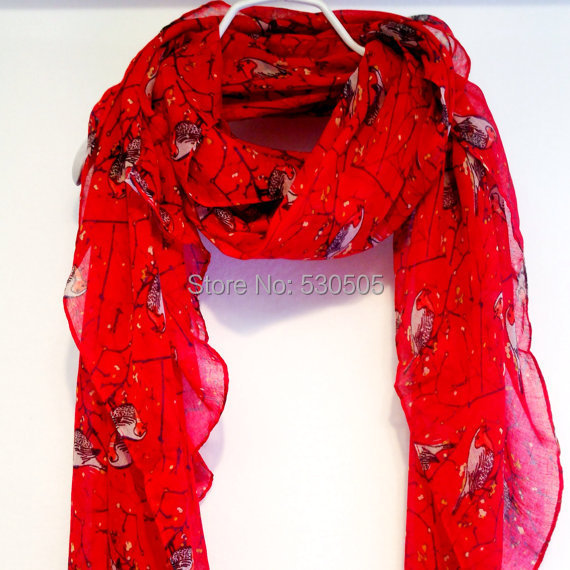 Birds Red Autumn / Spring Summer Scarf  10pcs/lot Free Shipping