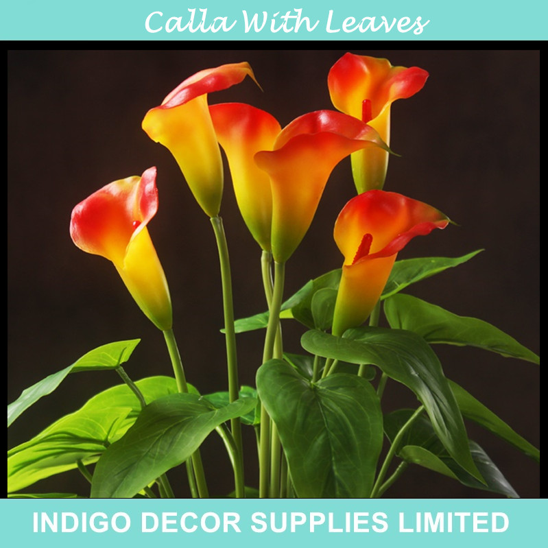Calla Bouquet (18pcs Leaves+3pcs Flowers +Roots) Touch Flower Calla Wedding Flower Floral Even Party Table Flower Free Shipping
