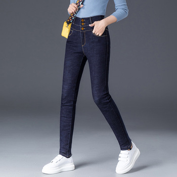 ACRMRAC odzież damska wiosna i jesień dżinsy wysokiej talii dżinsy zima utrzymać ciepłe grube spodnie wąskie dżinsy ołówek spodnie Skinny w dół dżinsy kobiet tanie i dobre opinie Kobiety Jeans Bleach Mycia Kamienia Średni Wiskoza Poliester Elastan COTTON Porysowany Tassel Kasetony Plisowana Kieszenie