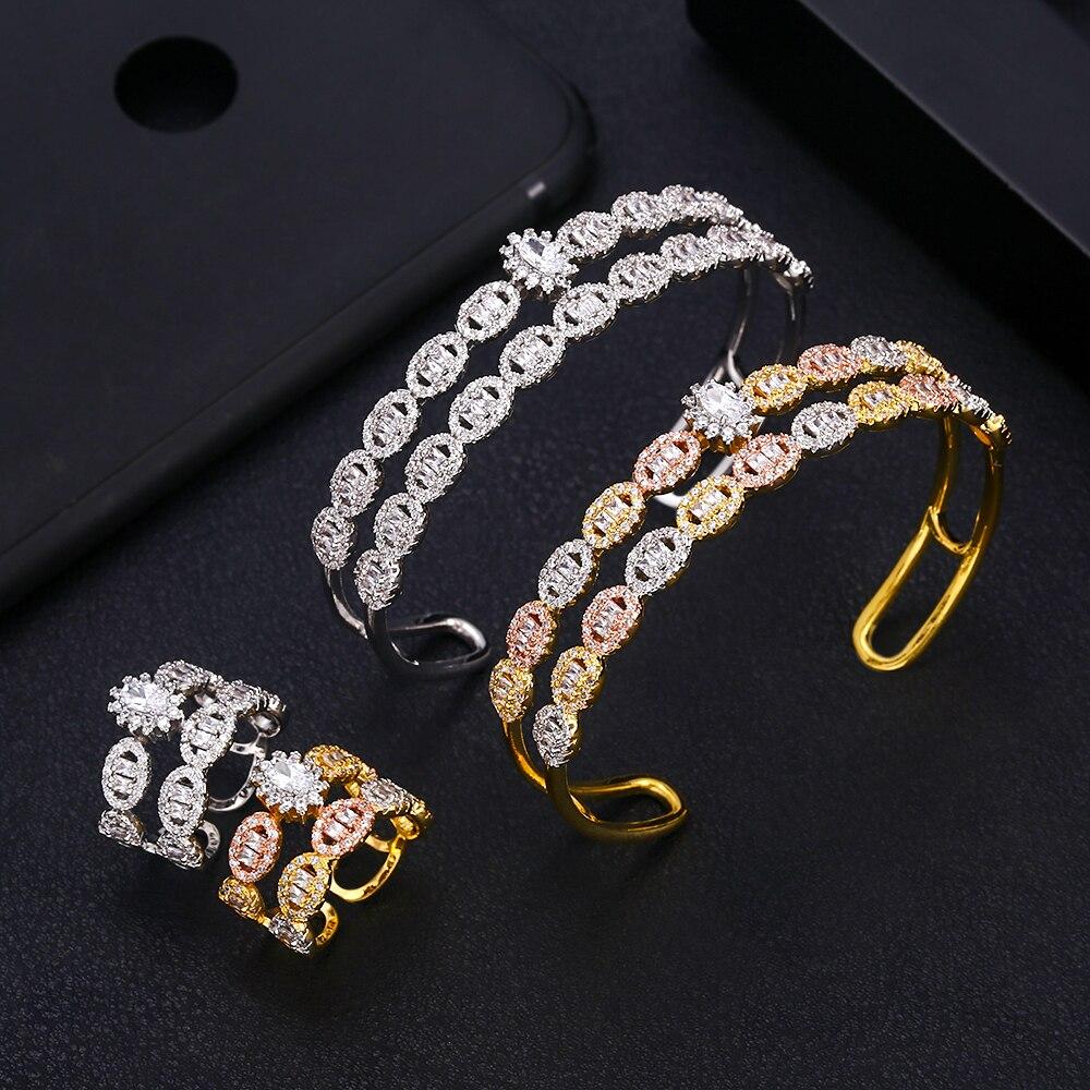 Accessoires de luxe accessoires de mode ensemble de bijoux Bracelet ensembles bague et Bracelet ensembles AAA zircon micro paveAccessoires de luxe accessoires de mode ensemble de bijoux Bracelet ensembles bague et Bracelet ensembles AAA zircon micro pave