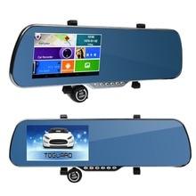 5 «IPS Сенсорный Экран FHD Android 1 Г RAM А33 с Двумя Объективами WI-FI Car Dvr Видео Рекордер Зеркало Заднего вида Монитор FM + GPS навигация + WDR