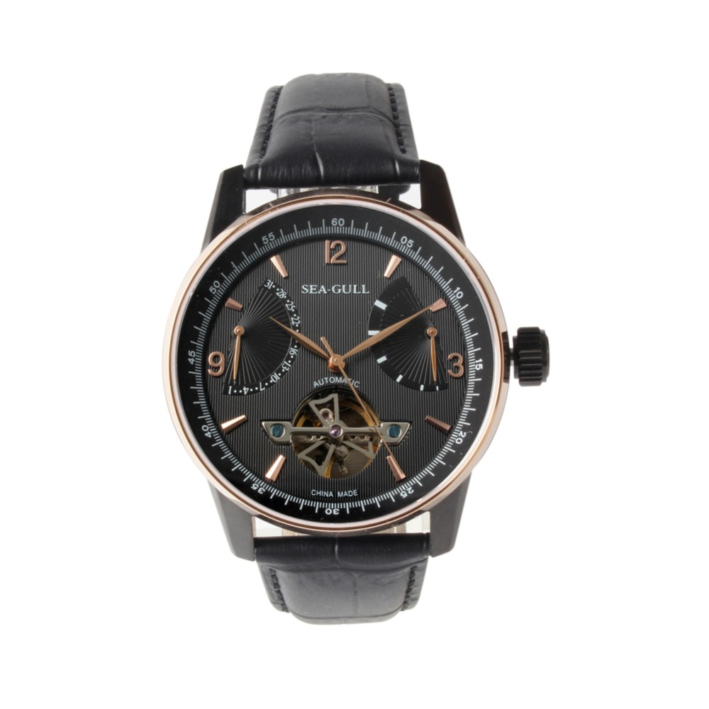 Retrograde Date Power Reserve Seagull 219 327 PVD With Stainless Steel Automatic Mechanical Men s Watch