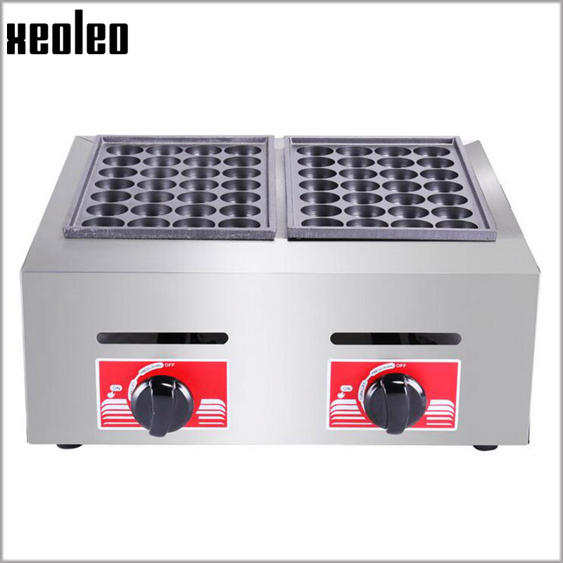 Xeoleo Gas fish Pellet Grill Double Plates Fish Pellet maker Commercial Fish pellet machine LPG BBQ Fish ball Griller цена 2017