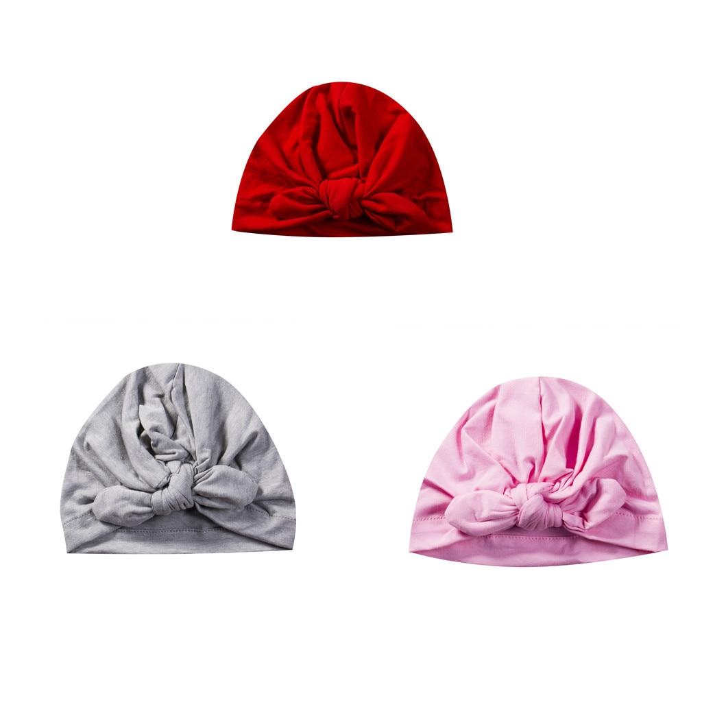 Cute Newborn Kids Baby Boy Girl Bowknot Soft Beanie Hat Cap Hair Accessories For 0-6Y