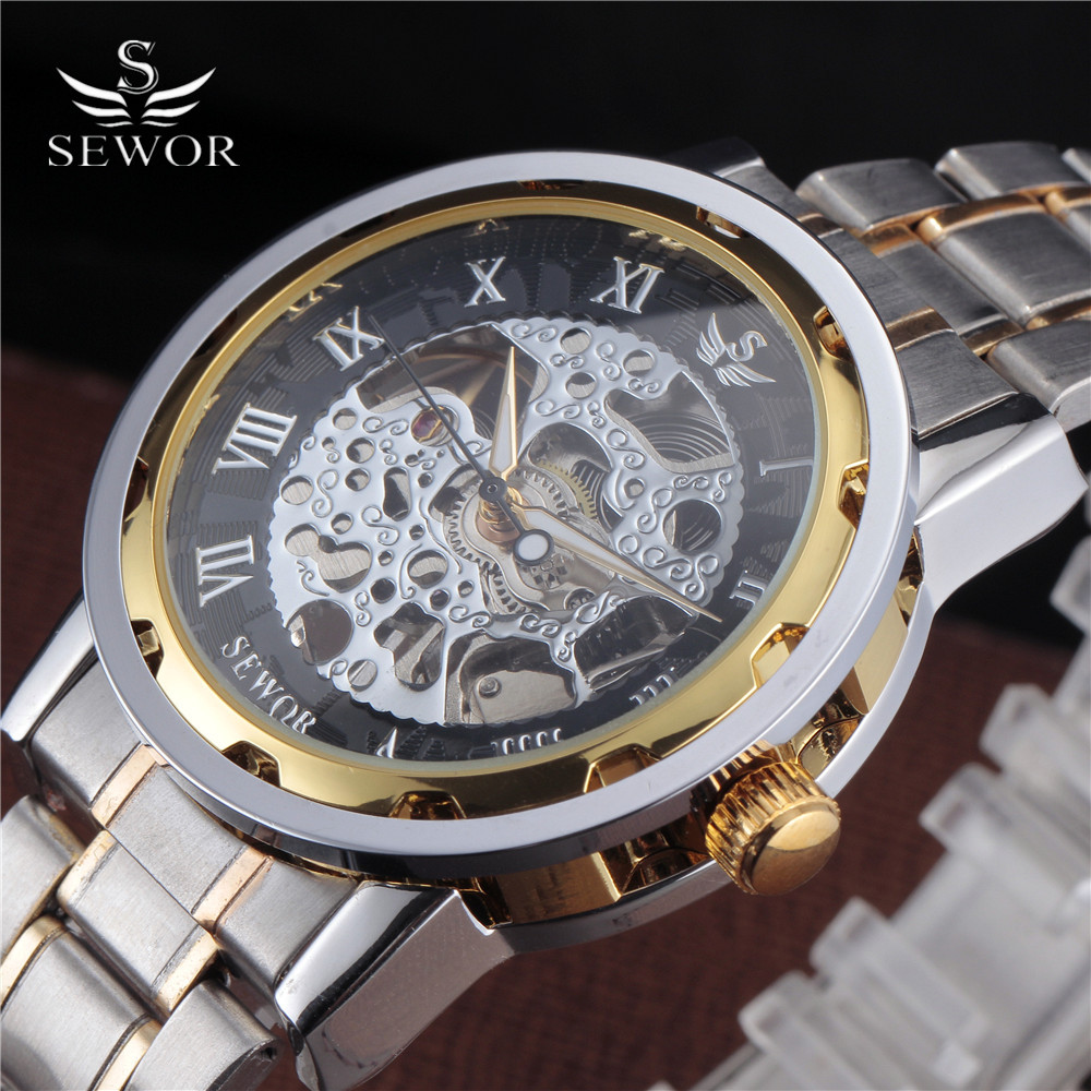 SEWOR Gold Men Skeleton Mechanical Watch Stainess Steel Steel Hand - Relojes para hombres - foto 1
