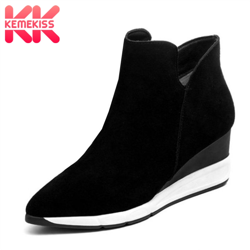KemeKiss Women Genuine Leather Ankle Wedges Boots Zipper Warm Fur Shoes Coold Winter Boots Short Botas Women Fotowear Size 34-39 kemekiss women genuine leather ankle wedges boots zipper warm fur shoes coold winter boots short botas women fotowear size 34 39