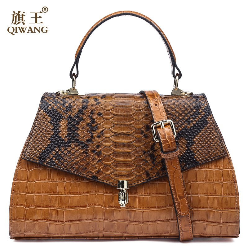 Qiwang Elegant Handbag Women Top handle Bags Fashion Ladies Alligator Embossed Leather Handbag 2019 Brown Tote