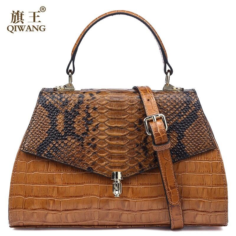 Qiwang Elegant Handbags For Women Top-handle Bags Embossed Genuine Leather Desinger Lady Handbag 2019 Brown Tote Shoulder Bags