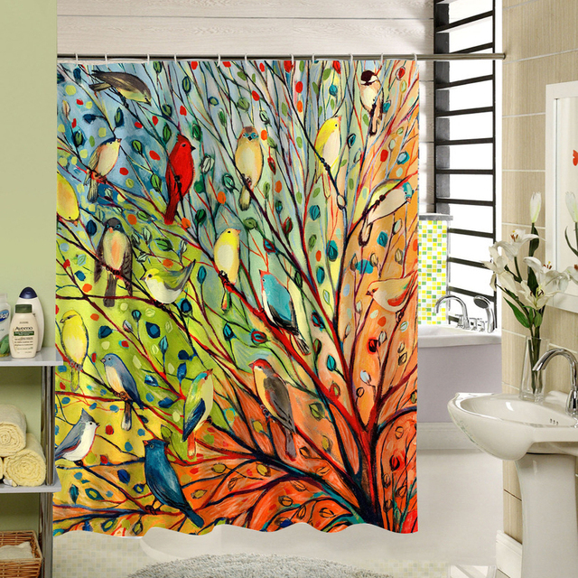Abstract Tree And Birds Shower Curtain Fabric Colorful Polyester Printing Bath Window Curtain