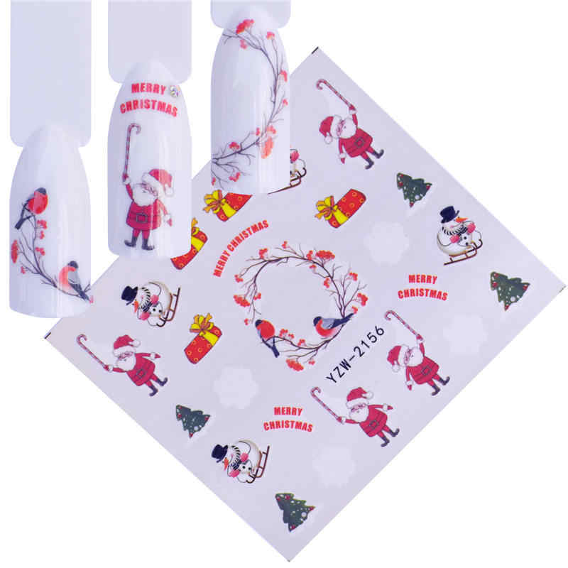 YWK 1 Tatuagens Temporárias de Água Folha de Etiqueta Do Prego Projeto Do Natal Alces/Flores De Neve/Coruja Padrão de Transferência De Beleza Do Prego arte