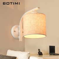 BOTIMI Nordic Bedroom Wall Lamp applique murale luminaire Wall Sconce With Fabric Lampshade E27 Indoor Home Lighting