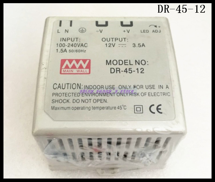 1Pcs DR-45-12 45W 12V 3.5A Ac Dc Converter Din Rail Single Output Switching Power Supply Brand New 45