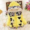 2015 Nuevo Otoño de Los Niños Ropa de Abrigo niñas Abrigo de invierno Chaqueta de invierno de los cabritos traje para la nieve Del Bebé Floral