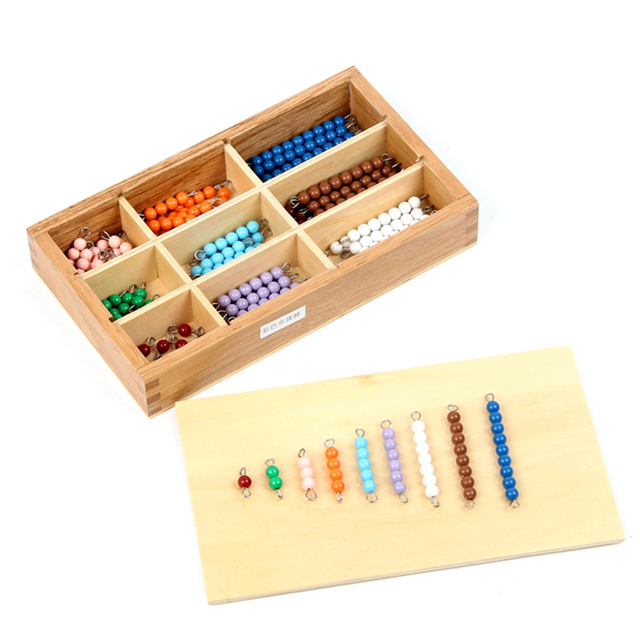 Montessori Materials Math Toys Colored Strings of Beads Learning Educational Toy Montessori Game For Baby Kids With Wooden Box