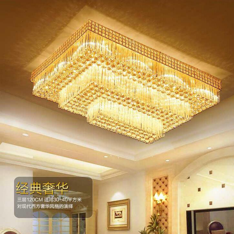 New S gold crystal ceiling lamp rectangular double crystal lamp LED living room lamps ceiling lamps lighting fixture led lights lighting rectangular chinese style wooden ceiling lamps led bedroom living room lights sheepskin lamp ceiling lamps zs78