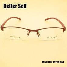 F9701 Half Rim Eyeglasses Metal Optical Frames Women Myopia Eyewear TR90 Glasses Spectacle Frame Man