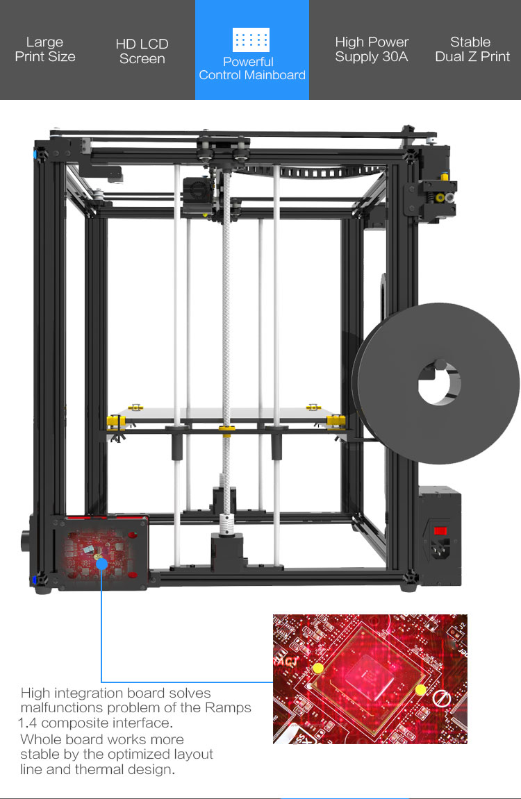 Upgrade Tronxy X5S 400*400*400mm 3D printer Kit Dual-Z axis High Precision  Aluminum Stable Printing Tronxy Large 3D printer DIY