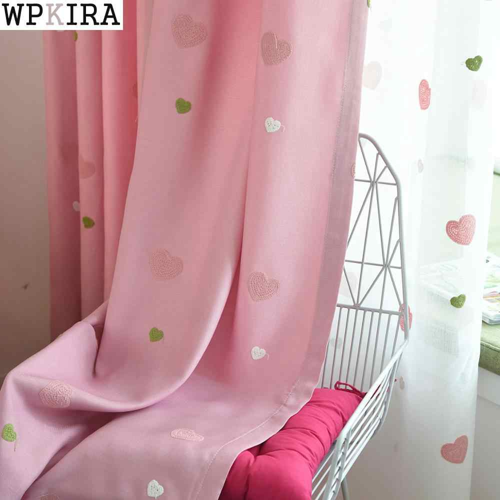 Pink Girl Cartoon Love Curtains For Living Room Children Blackout Customized Finished Curtains For Baby Bedroom M057&30