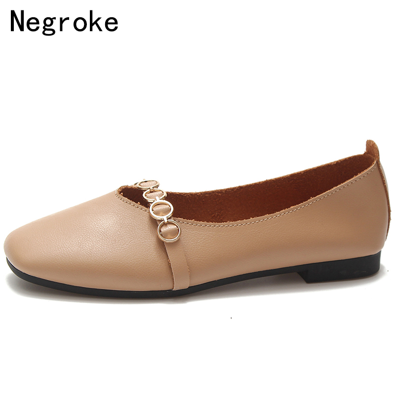 2018 Autumn Women Flat Shoes Slip On Casual Leather Loafers Soft Zapatillas Mujer Instep Strap Ballet Flats Ballerina Zapatos womens ballet flats slip on faux leather solid ballerina shoes for women casual comfort autumn ladies loafers shoes wholesales