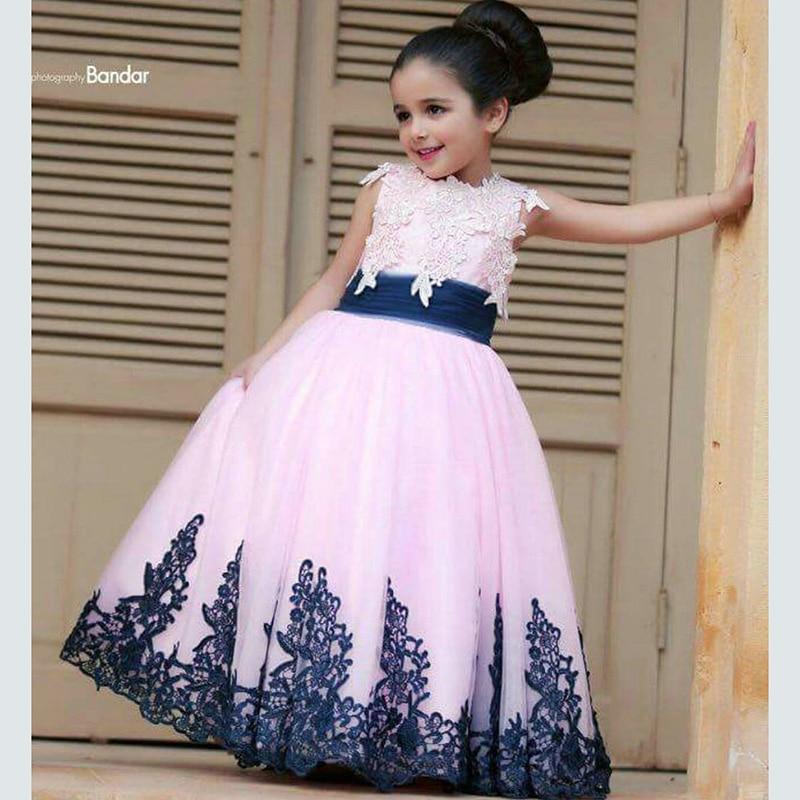 Pink Tulle azul marino encaje de flores niña vestidos vestidos de ...
