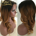 Brazilian Virgin Hair Glueless Lace Wigs New Fashion 1B#T4#T27# Ombre Full Lace Wig Human Hair Three Tone Ombre Lace Front Wig