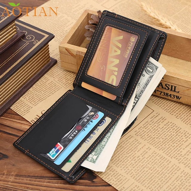 AOTIAN Men Leather Card Cash Receipt Holder Organizer Bifold Wallet Purse a19  Drop Shipping Wholesale