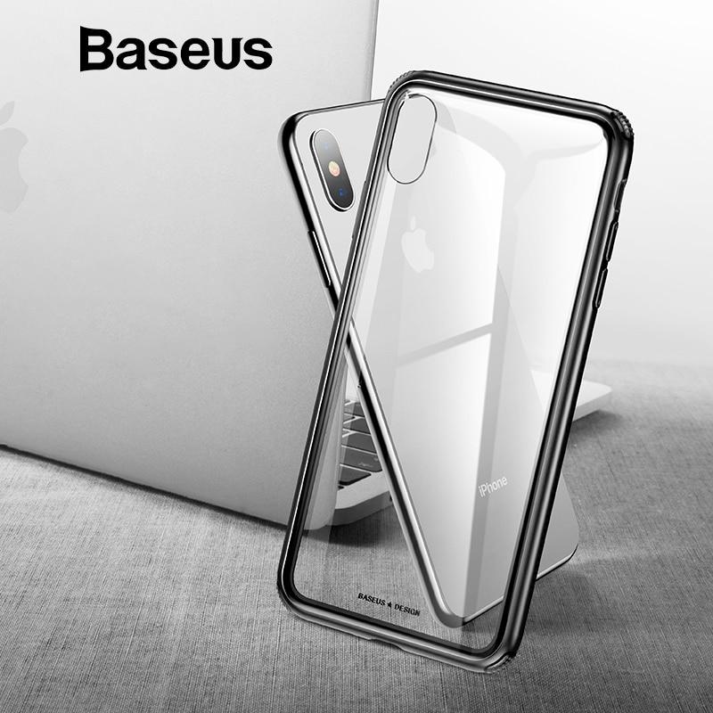 Baseus originales de lujo de vidrio templado para iPhone Xs Max XR 2018 cubierta del teléfono Anti Knock Back casos de teléfono para iPhone Xs