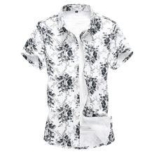 Hawaiian Style Mens Shirts Flower Cotton Fashion Beach leisure Casual Shirt Clothing Blouse Men Summer