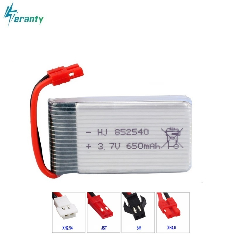 High Rate 3.7V 650mAH 25c For Syma X5C X5HC X5HW FY550 HJ818 HJ819 Quadrocopter Lipo Battery 3.7V 852540 Battery For XH4.0 Plug