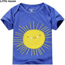 Little maven kids brand clothing 2016 new summer boy short sleeve O-neck t shirt Cotton smiling sun printing brand tee tops L053
