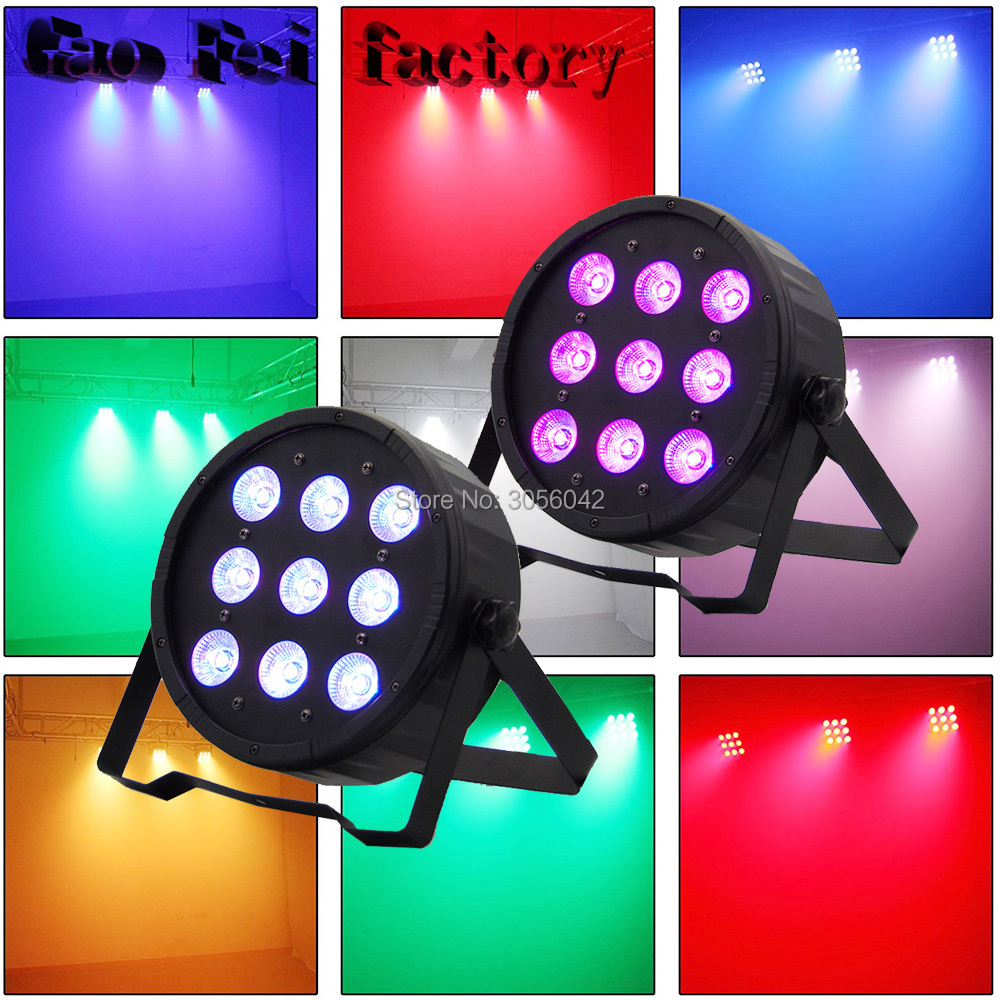 2PCS/LOT 9x12W DJ Mega Quad Par Profile Bright Stage LED Wash Light RGBW 50m wireless control 18x8w rgbw american dj mega quad par profile bright stage led wash light rgbw color mixing 8pcs lot