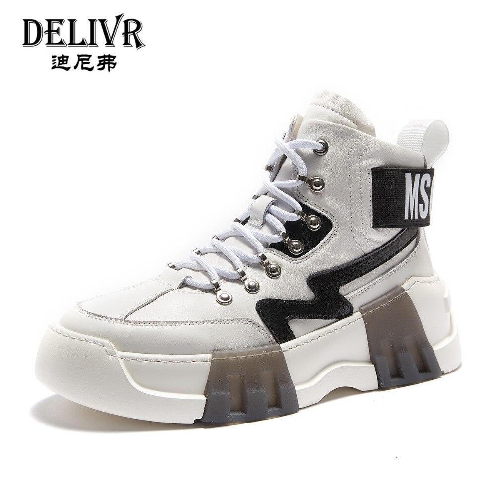 Livraison en cuir véritable bottes hommes 2019 blanc Martins botte homme chaussures de luxe marque formelle chaussures hommes baskets hommes chaussures haut