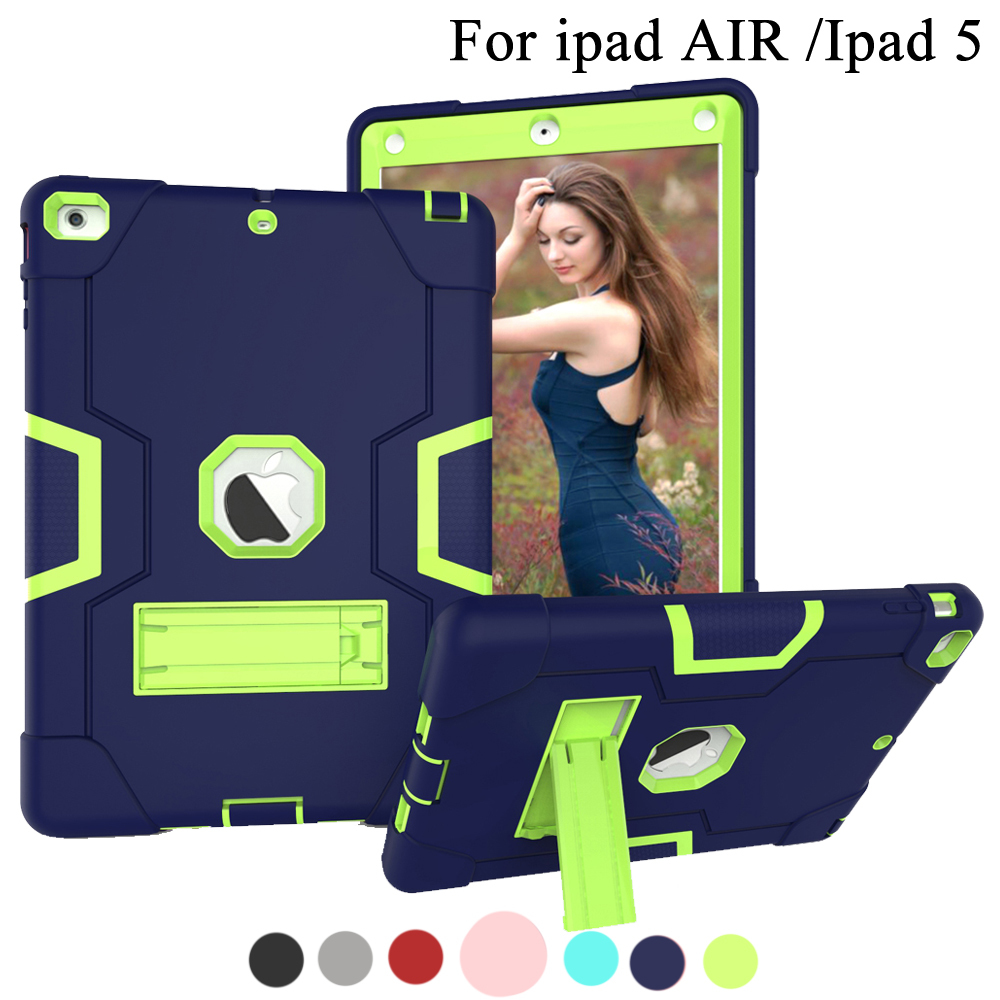 Case For apple ipad Air 1 Kids Safe Shockproof Soft Silicone Stand Armor Cover Hand hold function For ipad 5 A1474,A1475,A1476,