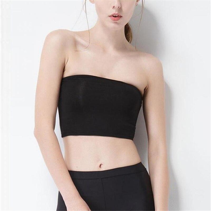 Summer Women Sexy Tube Top Strapless Black Bandeau Sleeveless Sports Bra Underwear Wrap Chest IK88