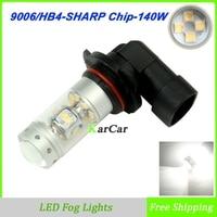 2x Nieuwe High Power 140 W 1200LM 9006 LED Mistlamp 12 V Auto auto Head Tail Fog Driving Gloeilamp HB4 Daytime Light 5500 K Wit