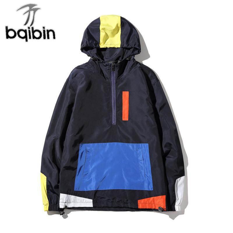 New Autumn Jackets Men Hoody Patchwork Anorak Jacket Fashion Hip Hop Hooded Plus Size College Student Windbreaker Coat 5XL