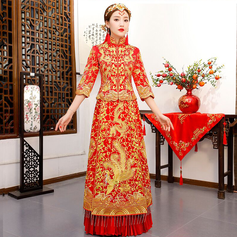Chinese Wedding Dress.Luxury Ancient Royal Red Chinese Wedding Dress Traditional Bride Embroidery Cheongsam Women Oriental Dragon Phoenix Qipao S Xxl